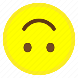 down, emoji, face, happy, hovytech, smile, upside icon