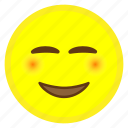 blush, emoji, eye, face, hovytech, smiling, white icon