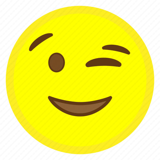 emoji, eye, face, hovytech, mouth, wink, winking icon