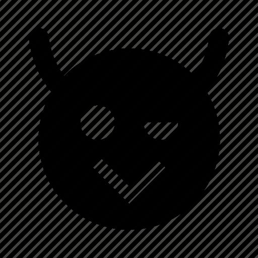 emoji, emoticon, face, happy, smile, wink icon