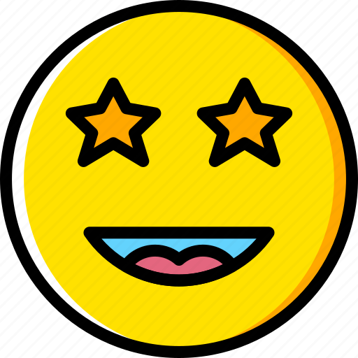 emoji, emoticons, face, starstruck icon