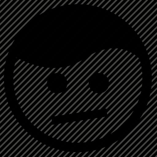 confused, emoji, emoticon, smirk, thinking, unimpressed icon