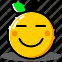 emoji, emoticon, expression, face, happy, orange