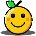 emoticon, expression, face, happy, orange, smiley