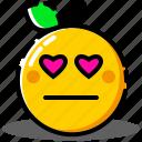 emoji, emoticon, expression, face, love, orange, worried