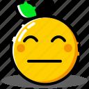emoji, emoticon, expression, face, orange