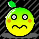 avatar, emoji, emoticon, expression, face, orange, worried