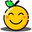 emoji, emoticon, expression, face, happy, orange, smiley