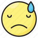 depressed, disappointed, emoji, emoticon, expression, face, sad icon