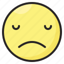 depressed, emoji, emoticon, emotion, expression, face, sad icon