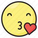 emoji, emoticon, emotion, expression, heart, kiss, love icon