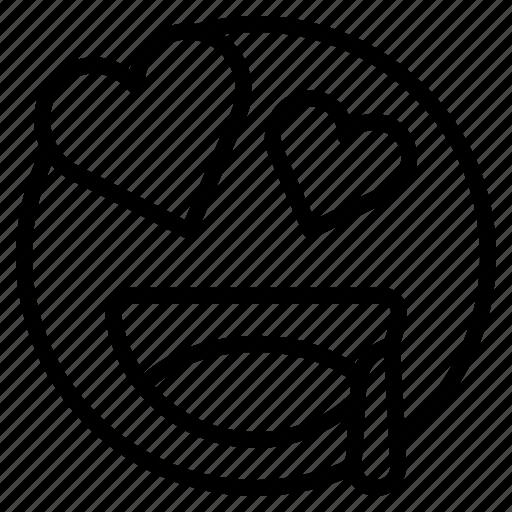 emoji, emoticon, eyes, happy, heart, love, smile icon