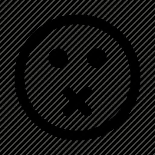 emoji, emoticon, emotion, face, muted icon