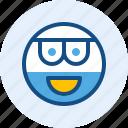 beard, emoticon, expression, eyeglass, mood