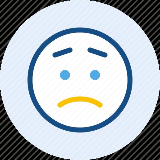 emoticon, expression, mood, worried icon