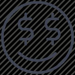 dollar, emoticon, emotion, face, greedy, smiley icon