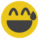 emoticon, happy, laugh, shy, smile, smiley icon
