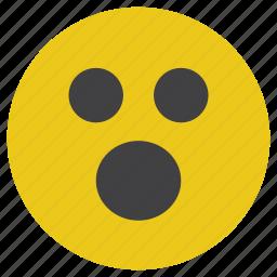 emoticon, smiley, surprised, wow icon