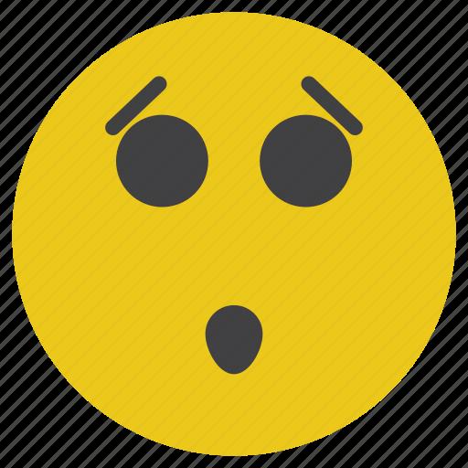 emoticon, sad, smiley, surprised icon