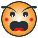 angry, emoji, emoticon, enraged, furious icon