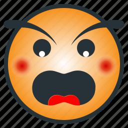 angry, emoji, emoticon, enraged, furious icon