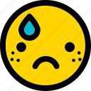 sad, emoji, emoticon, expression, face, smiley