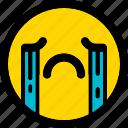 crying, emoji, emoticon, expression, face, smiley icon