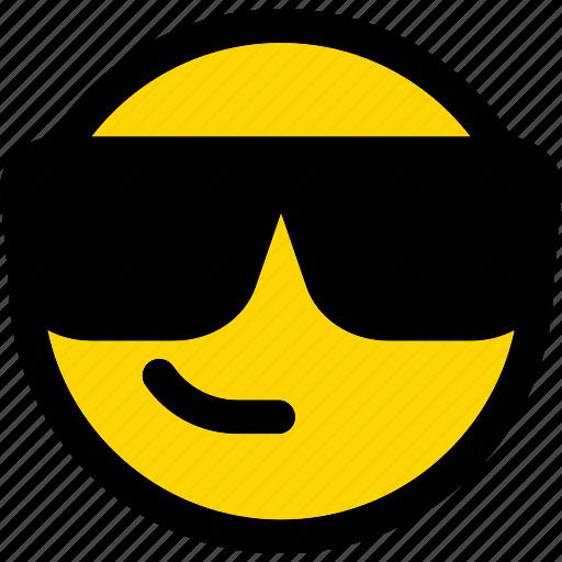 emoji, emoticon, expression, face, smiley, sunglasses icon