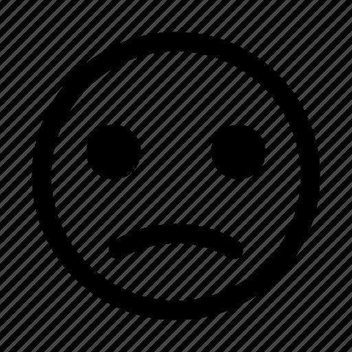 depressed, emoticon, low, negative, sad, sorrowful, unhappy icon