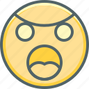 angry, emoji, emoticon, emotion, expression, sad, uneasy icon
