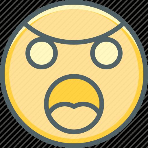 angry, emoji, emoticon, emotion, expression, sad, uneasy icon