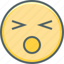anguished, emoji, emoticon, emotion, mood, sad, unhappy icon