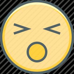 anguished, emoji, emoticon, emotion, mood, sad, unhappy icon