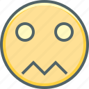 boring, confused, emoji, emoticon, emotion, sad, unhappy icon