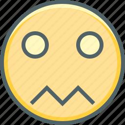 boring, confused, emoji, emoticon, emotion, sad, unhappy icon