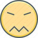 angry, confused, emoji, emoticon, emotion, expression, sad icon