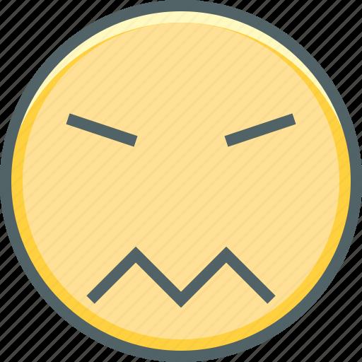angry, confused, emoji, emoticon, emotion, expression, sad icon