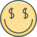 currency, dollar, emoji, emotion, mercenary, money, smiley icon