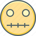emoji, emoticon, emotion, mouth, silent, zip, zipped icon