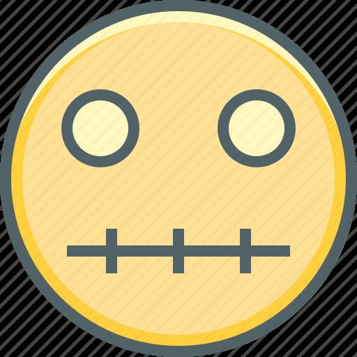 emoji, emoticon, emotion, mouth, silent, zip, zipped icon