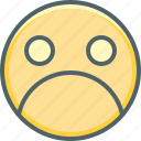 angry, boring, emoji, emoticon, emotion, sad, unhappy icon