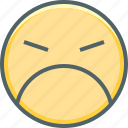angry, anguished, emoji, emotion, expression, sad, unhappy icon