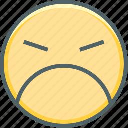 angry, anguished, emoji, emotion, expression, sad, unhappy icon