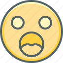 confusion, emoji, emoticon, emotion, expression, face, shocked icon