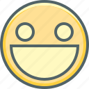 big, emoji, emotion, eyes, mouth, open, smiling icon