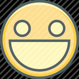 big, emoji, emotion, eyes, mouth, open, smiling icon