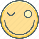 emoji, emoticon, emotion, eye, happy, smiley, wink icon