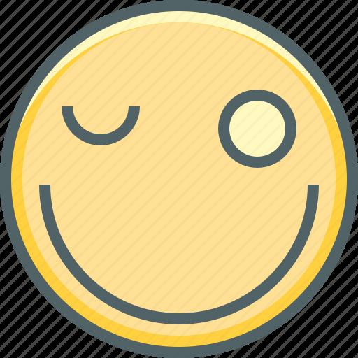 emoji, emoticon, emotion, eye, happy, smiley, wink icon