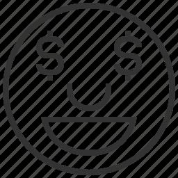 avatar, emotion, face, greedy, wealth icon