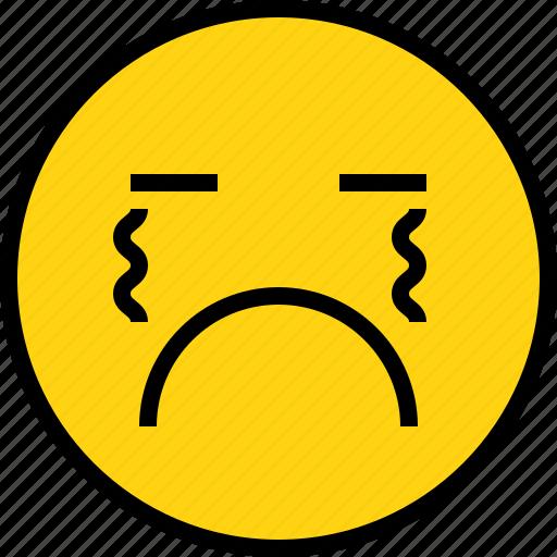 avatar, cry, emoji, emotion, face, feeling icon